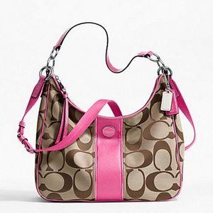 Coach signature stripe handbag -EUC